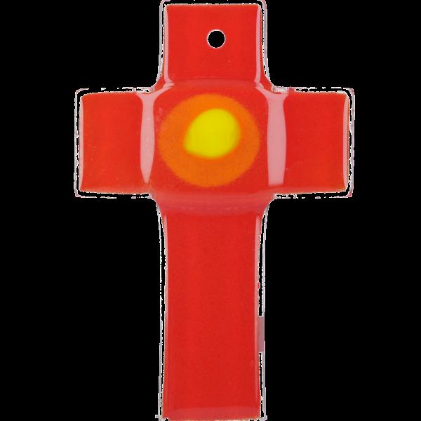 Hängekreuz, Glaskreuz, rot mit Ring