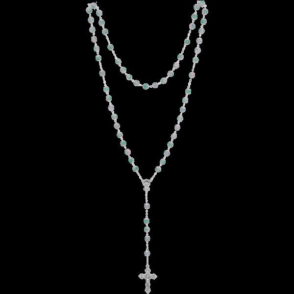 Rosenkranz gekettelt, Glasperle grün7mm, Muranoart, Länge 55cm