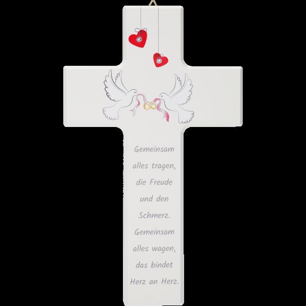 Hochzeitskreuz, Gemeinsam alles...20x12cm, weiß, m. Swarovski