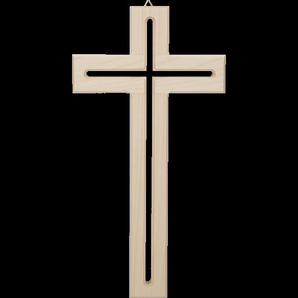 Hängekreuz, Ahornholz, 31x16x2 cmdurchgefräst