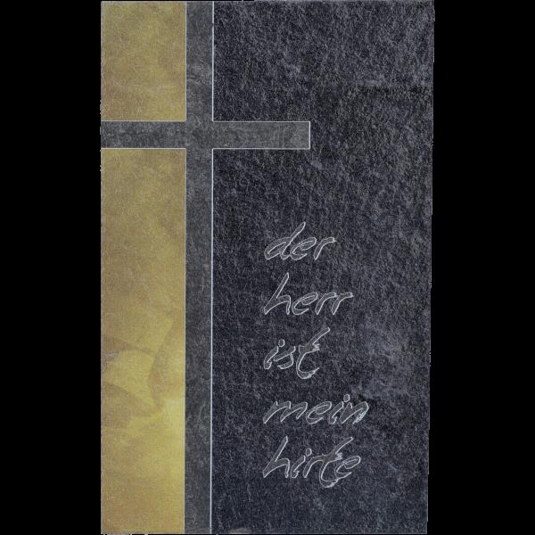 """Schiefertafel, 8x13 cm, 2fbg. bedrucktMotiv """"Der Herr ist mein ... """",  im GK"""