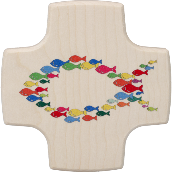 Kinderkreuz, Ahorn, Motiv FischeGleichschenkelig, 8,5x8,5cm