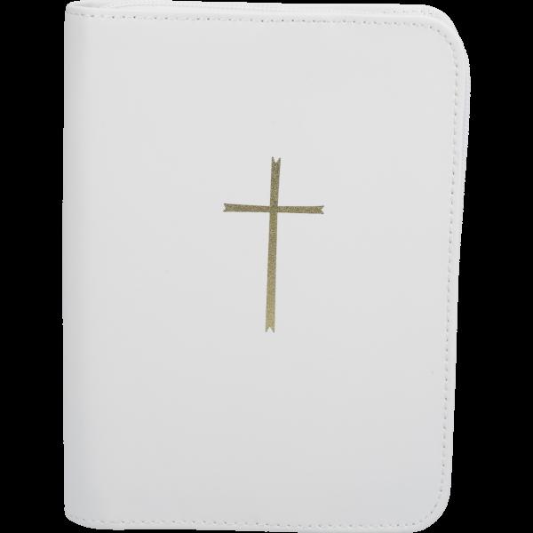 Gebetbuchhülle, Echt Leder, weißmit Reißverschluß, mit goldenem Kreuz