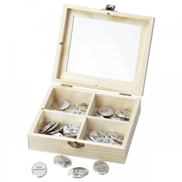 Engelsmünzen, 4 versch. Motive/SprücheMaße Münze 2,2x3 cm, 60 Stk. in Holzbox