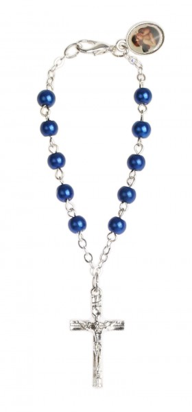 Zehnerrosenkranz Lithopal blau m. Schutzengel-Anhänger