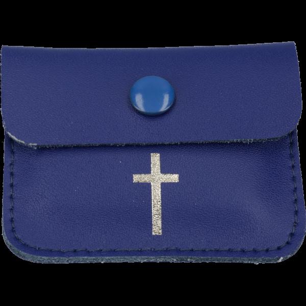 """Lederetui blau - Kreuz- 7 x 5,5 cm für RosenrkänzeMotiv """"Kreuz"""""""