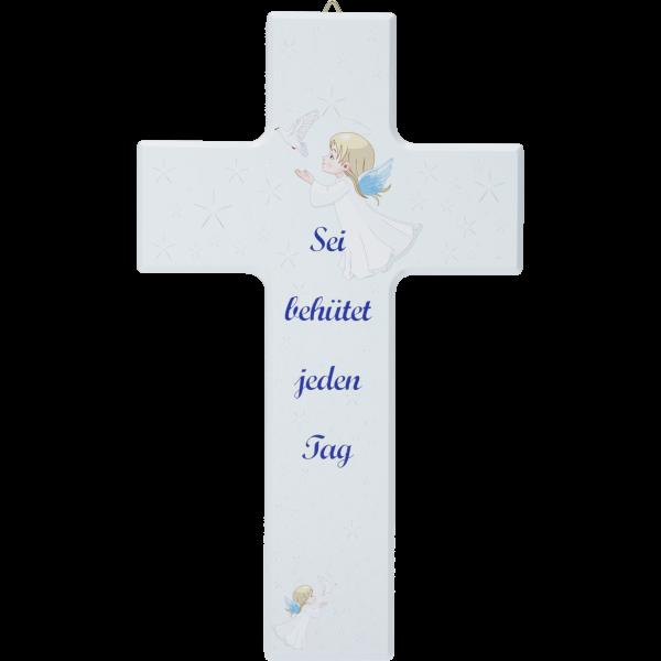 """Kinderkreuz """"Sei behütet ...""""Ahornholz, blau lackiert, 20 x 12 cm"""