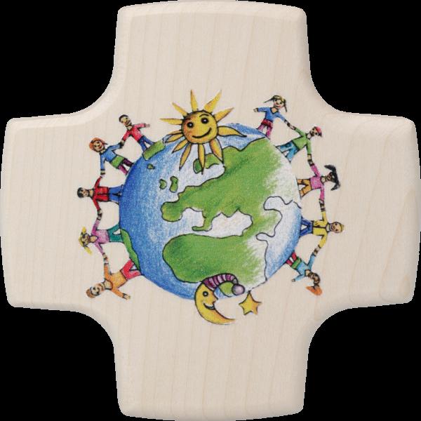 """Kommunionkreuzchen """"Kinder dieser Welt""""Ahornholz, natur, 8,5 x 8,5 cm"""