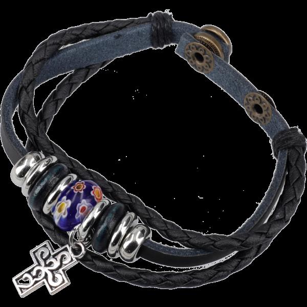 Armband m. Leder geflochten u. glattschwarz m. Glasperle blau