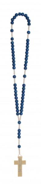 Rosenkranz geknüpft Holzperle blau