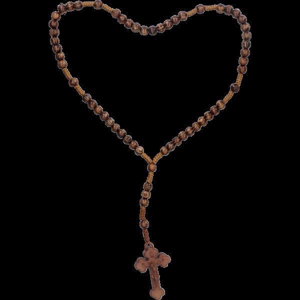 Rosenkranz geknüpftHolzperle, Finn. Tanne braun, 6mm, 29cm