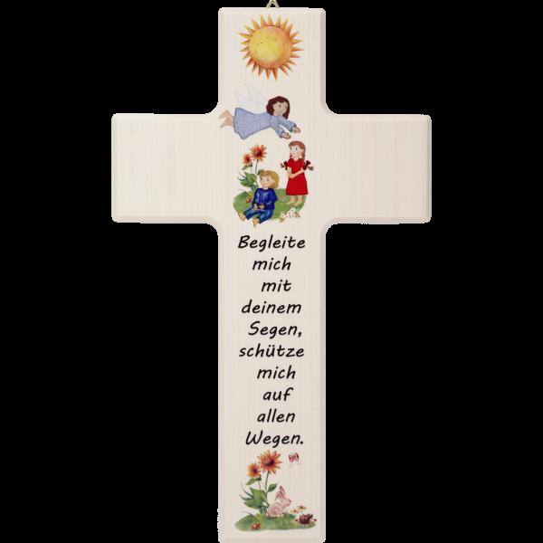 """Kinderkreuz """"Begleite mich mit ...""""Ahornholz, natur, 20 x 12 cm"""