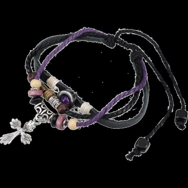 Armband aus Leder mit Baumwollkordelnu. versch. Perlen , Größe verstellbar