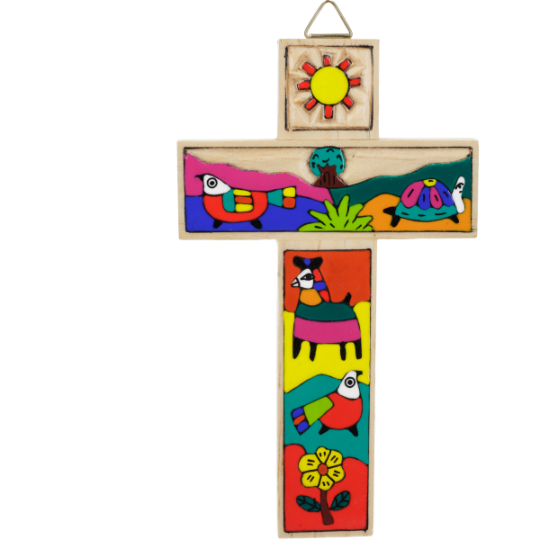 Kinderkreuz handbemalt, sortiertHolz, lackiert, 15 cm