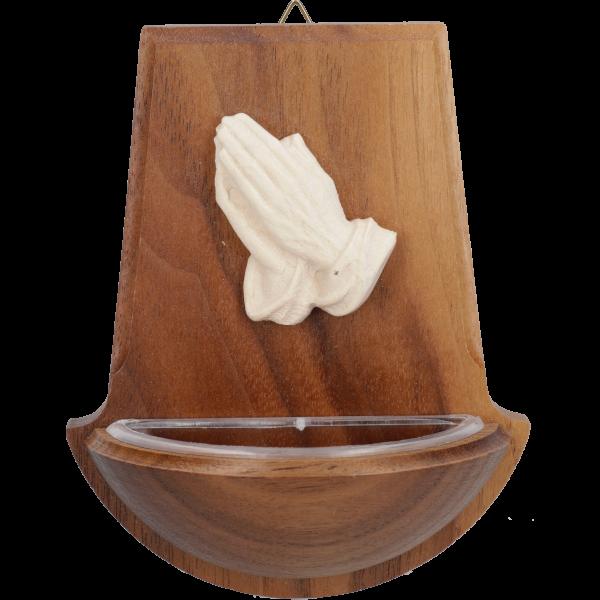 Weihwasserkessel mit betenden HändenNussbaumholz, 10 cm