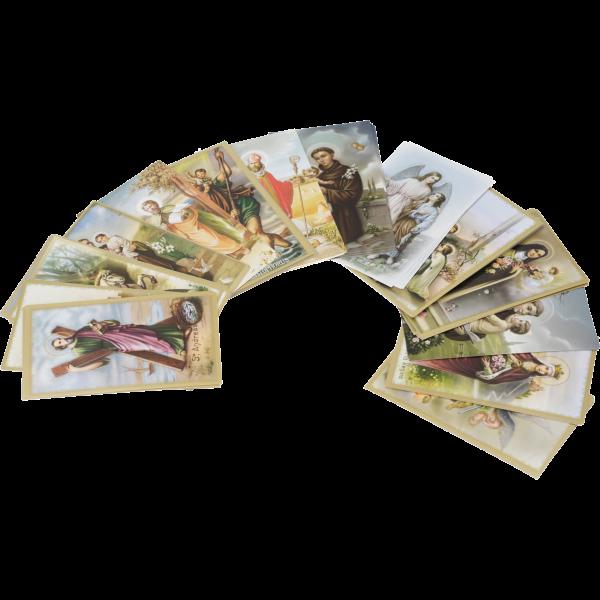 Heiligenbildchen, 100 Stück sortiertPapier, bunt bedruckt, 6 x 10,2 cm
