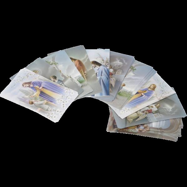 Kommunionbildchen, 100 Stück sortiertPapier, bunt bedruckt, 6 x 10,2 cm