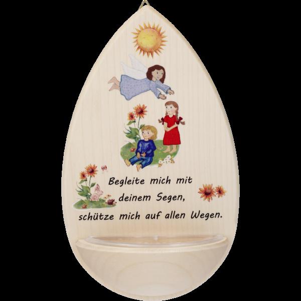 """Kinderweihkessel  """"Begleite mich ...""""Ahornholz, 15 cm, klar lackiert"""