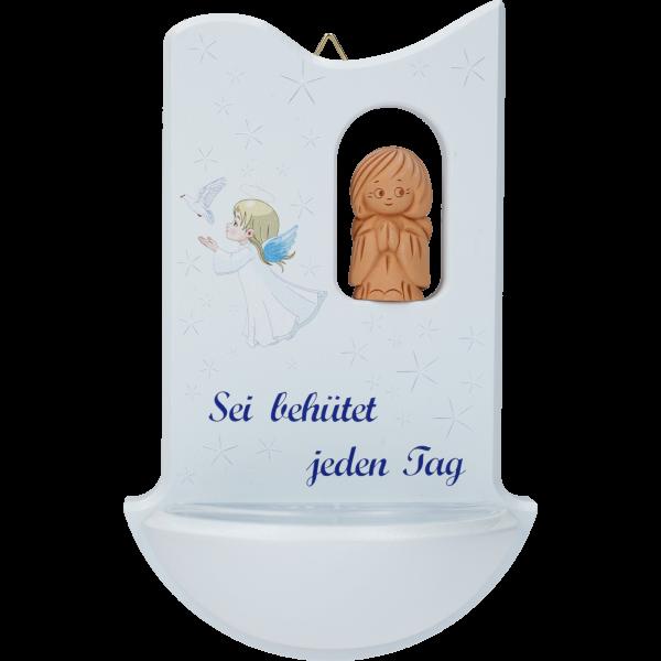 """Kinderweihkessel mit Tonengel """"Seibehütet."""", Ahornholz, blau, 14 cm, im GK"""