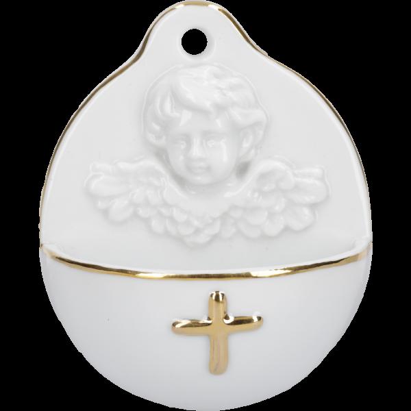 Weihwasserkessel Engelskopf mit KreuzPorzellan, weiß/gold, 9x10 cm, im Karton