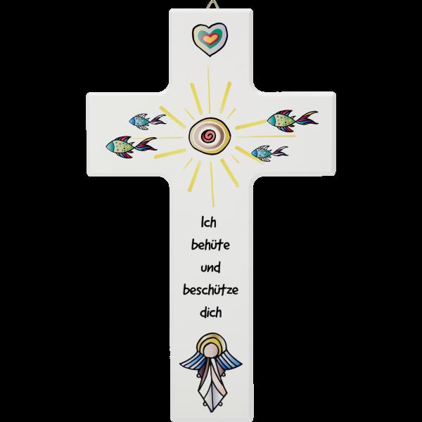 """Holzkreuz 20x12cm, Ahornholz weißMotiv: Gottes Auge""""Ich behüte..."""""""