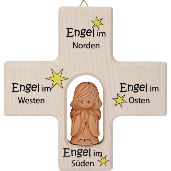 "Kinderkreuz m. Tonengel ""Osten/Süden/Westen/Norden"" Ahornholz, natur, 12 x 12 cm"