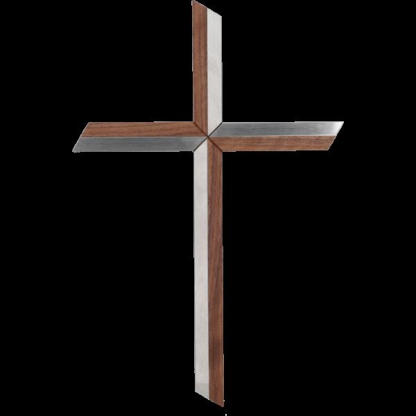 Hängekreuz, Edelstahl/ Nussbaumholz30 cm, Handarbeit