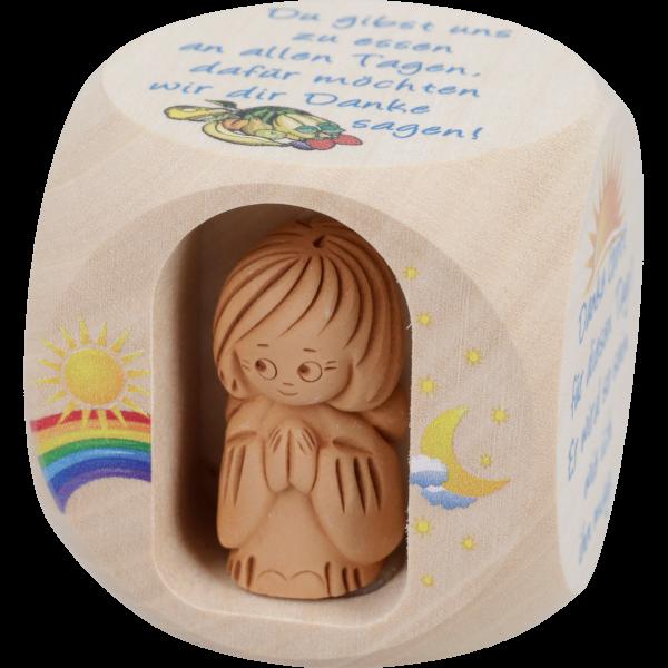 Gebetswürfel natur, mit Tongengelchen49 mm, farbige Motive, Kindergebete