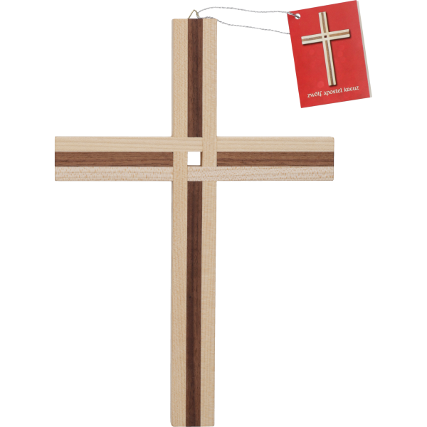 Hängekreuz, 12-Apostel-KreuzAhorn-/ Nussbaumholz 25 x 17 cm