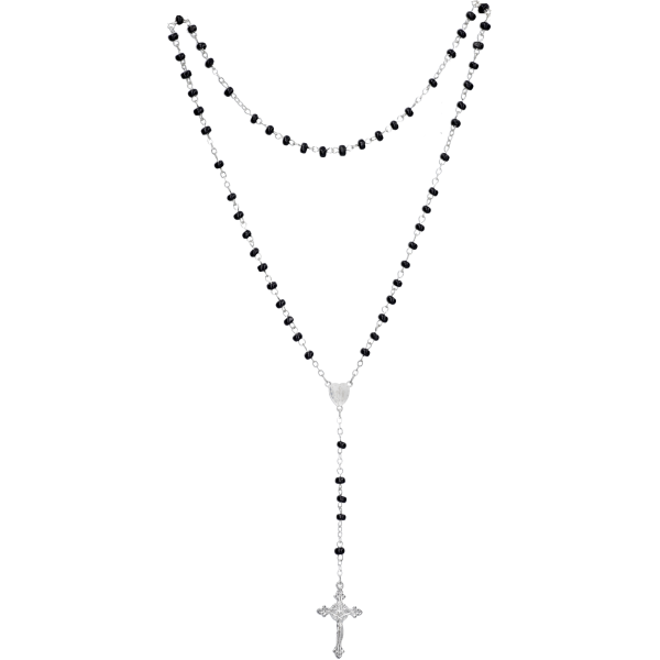Rosenkranz gekettelt AnkerketteHolzperle, schwarz, 4mm, 32cm
