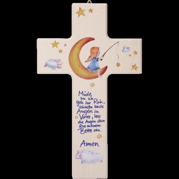 "Kinderkreuz ""Müde bin ich...""Ahornholz, natur, 20 x 12 cm"