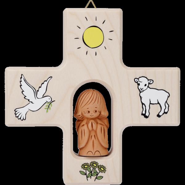 "Kinderkreuz m. Tonengel ""Taube/Lamm/Sonne/Blume"" Ahornholz, natur, 12 x 12 cm"
