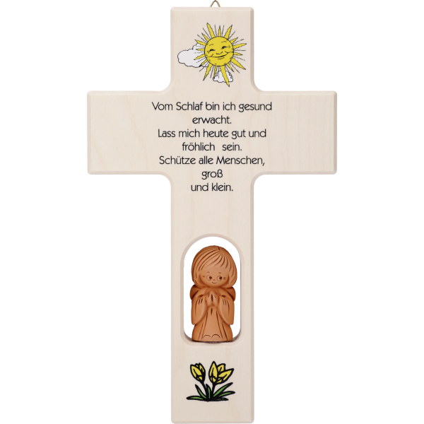 """Kinderkreuz m. Tonengel """"Vom Schlaf binich ...""""  Ahornholz, natur, 20 x 12 cm"""