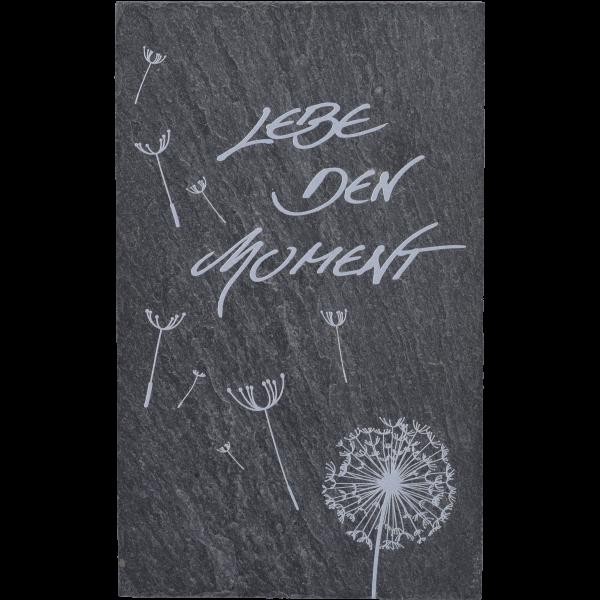 """Schiefertafel, 8x13 cm, 1fbg. bedrucktMotiv """"Lebe den Moment"""",  im GK"""