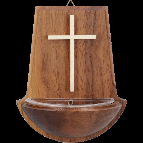 Weihwasserkessel mit schmalem KreuzNussbaumholz, 10 cm