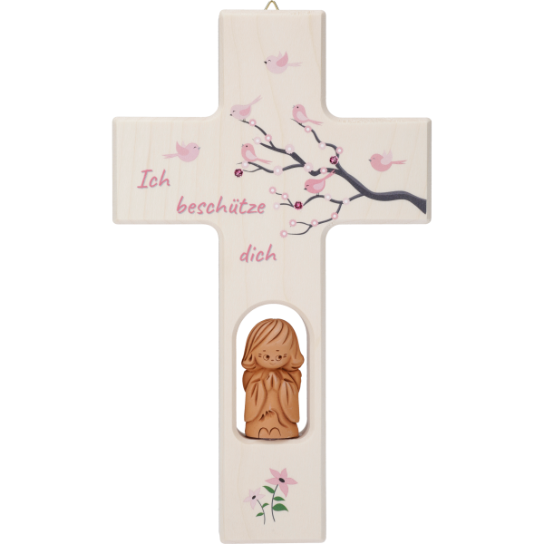 Kinderkreuz m. Tonengel, Lebensbaum Kind20x12cm, rosa, Swarovski