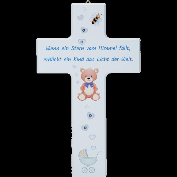 Kinderkreuz, Ahornholz, Wenn ein Stern..20x12cm, blau, m. Swarovski