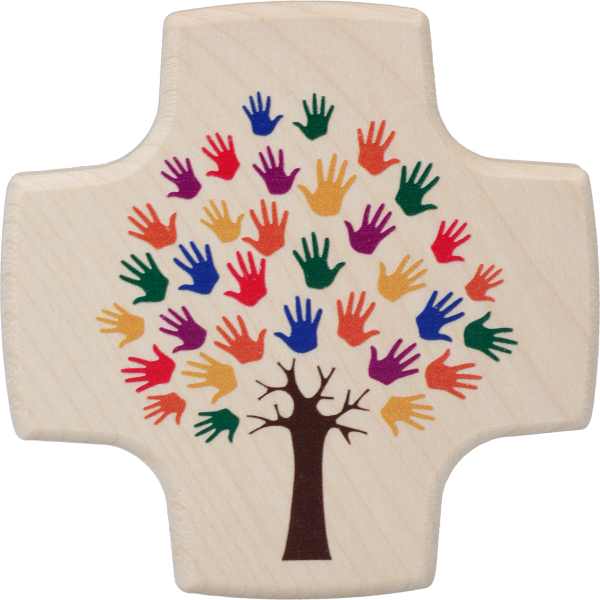 Kinderkreuz, Ahorn, bedruckt8,5x8,5cm, natur, Motiv Hände