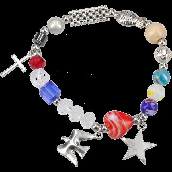 """Armband """"Das Leben Jesu"""" m. Charmsu. Perlen, mit 4-sprach. Begleitheft"""