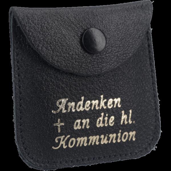 Rosenkranzetui -Kommunion-Leder, schwarz, 6,5 x 6,5 cm