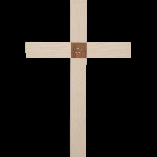 """Hängekreuz, Ahornholz, 30 x 18 cmmit Einlage Nussbaumholz """"Fisch"""""""