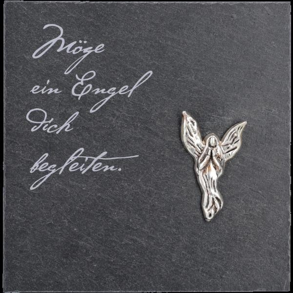 """Schiefertafel, 13x13 cm, Angelo-Engelsilber, bedr. """"Möge ein Engel."""",  im GK"""