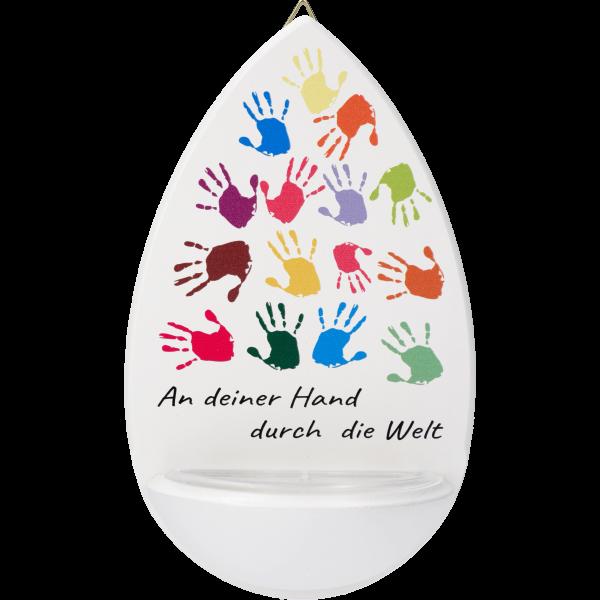 Kinderweihkessel, An deiner Hand...15cm, weiß, bedruckt
