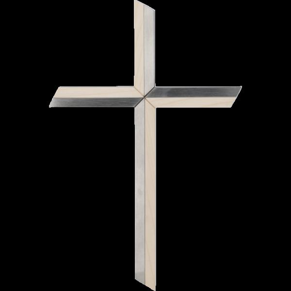 Hängekreuz, Edelstahl/ Ahornholz30 cm, Handarbeit