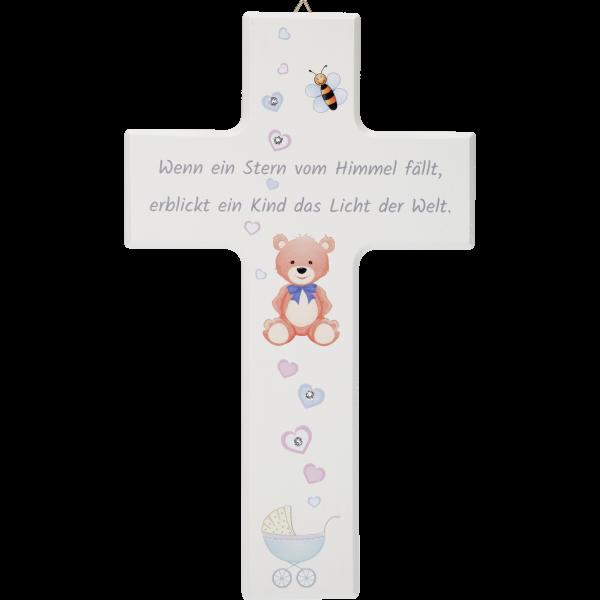 Kinderkreuz, Ahornholz, Wenn ein Stern..20x12cm, m. Swarovski Steinen