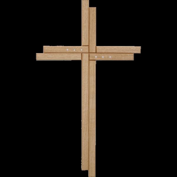 Wandkreuz 35x21cm, Eiche m. Kristallst.Ausführung: Modern