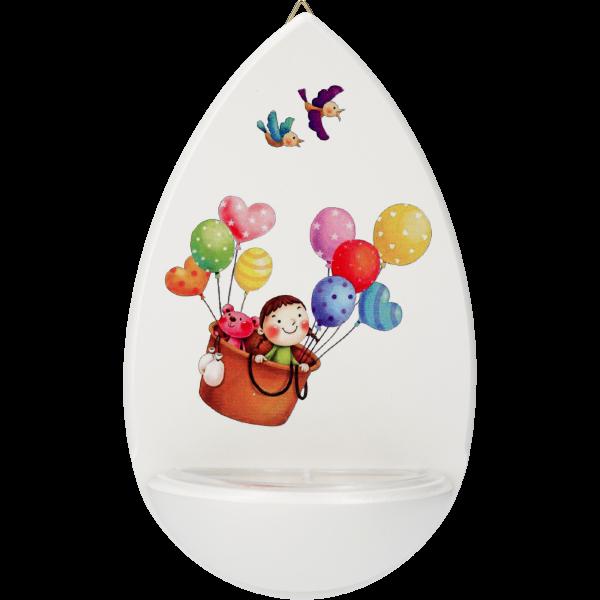 Kinderweihkessel, Heißluftballon o. Text15cm, weiß, bedruckt