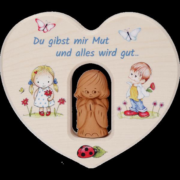 Holzelement HERZ m. Tonengel/GebetAhornholz, bunt bedruckt, 12x12 cm im GK