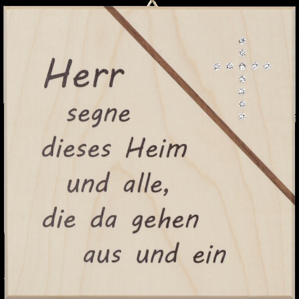 """Haussegen 14x14cm,Ahornholz m. Kristall.Motiv:""""Herr segne dieses Heim..."""""""