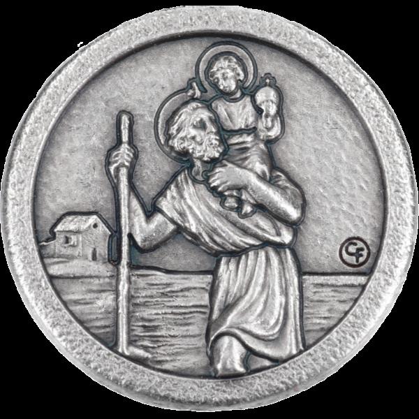 Autopl.Christophorus, silber, rundVE=12 St., Stück 1,99, normaler Rand